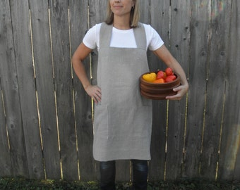 Linen Pinafore Apron, Japanese Cross Back Apron, Linen Apron, Pinafore Apron, Cross Back Apron