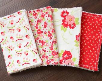Ruby Bundle, baby girl burp cloths, burp cloth set, floral burp cloths, red white pink burp cloths, floral nursery, baby girl, baby gift