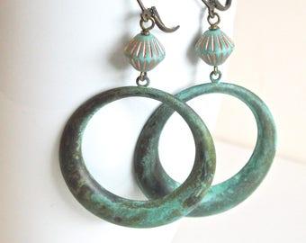 Large Patina Hoop Earrings - Verdigris Earrings, Czech Glass Earrings, Big Hoop Earrings, Nature Jewelry, Floral Jewelry