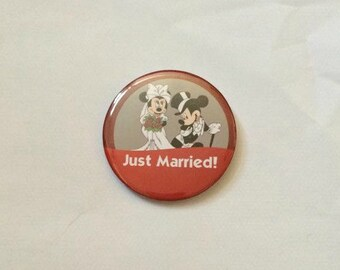 """Mickey Mouse & Minnie Mouse """"Just Married!"""" Disney Inspired Celebration Button/Pin/Badge"""