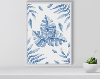 Navy Banana Leaves Print, Tropical wall art, Tropical Print, Plants, Navy Blue, Gift for her, home decor, Housewarming gift, Printable