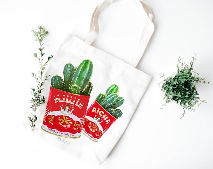 Tote Bag - Cotton ecru - Pop Art - Cactus in a tin