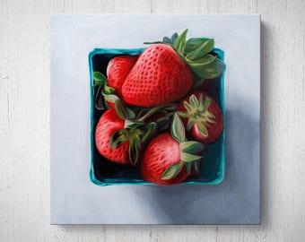 Fresh Strawberries - Fruit Oil Painting Giclee Gallery Mounted Canvas Wall Art Print