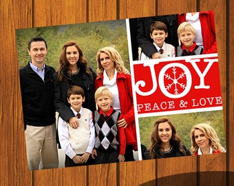 Joy, Peace and Love / Photo Christmas Card / Custom Photo Christmas Card / Holiday Card / Photo Greeting Card  / 5x7 Inches