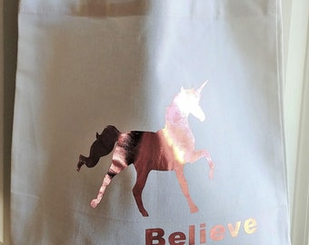 Unicorn canvas tote