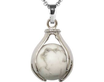 Pendant hand held silver plated - howlite