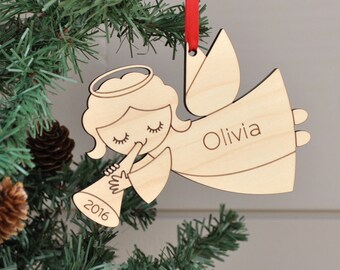 Classic Angel Baby Ornament: Personalized Name, Baby's First Christmas 2018, Wooden Christian Guardian Angel or Memorial Gift
