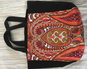 Reversible tote bag with vintage fabrics