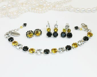 Yellow Black Set Pittsburgh Steelers Swarovski Crystal Set Pittsburgh Pirates Vcu Pittsburgh Penguins Bracelet Matching Earrings,Silver,SB1