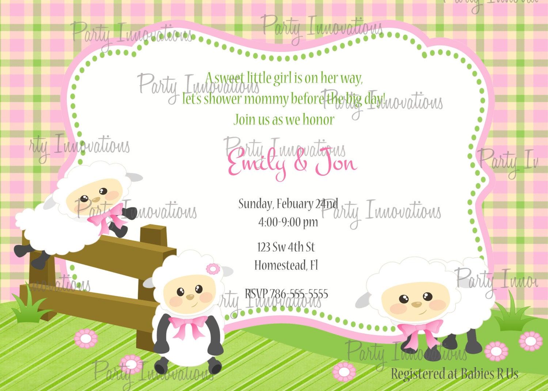 Printable Sheep Baby Shower Invitation plus FREE blank