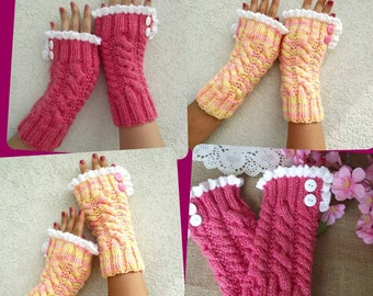 KNITTING PATTERN Mittens with Lace Fingerless Gloves - Grace and Lace - pdf Pattern Instant Download knit pattern with crochet trim