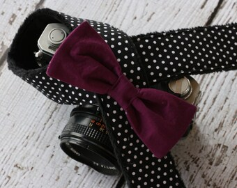 Camera Strap. Camera Neck Strap. Polka Dot and Plum Bow. dSLR Camera Strap. Custom Camera Strap. Cute Camera Strap. Designer Camera Strap.