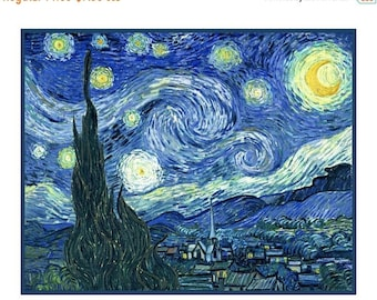 SPRING SALE Digital DOWNLOAD Vincent Van Gogh Impressionist Starry Starry Night Counted Cross Stitch Chart / Pattern