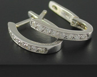 14K White Gold Diamond Earrings - Hoop Earrings (0.5ct VS2, G-H-I) - Channel Set Diamond Dangle Earrings