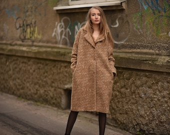 Wool coat / Camel coat / Shaggy coat / Winter coat /Camel wool  coat / Handmade Coat / 100% wool coat