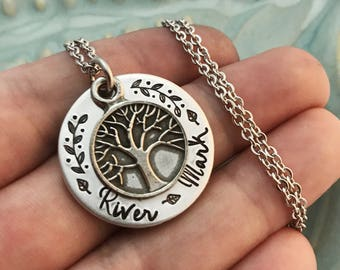 Family Tree ~ Hand stamped ~ Custom Kid's Names ~ Personalized Mom Mommy Mother Necklace ~ Mama Pendant Jewelry ~ Anniversary Gift ~ HLJ