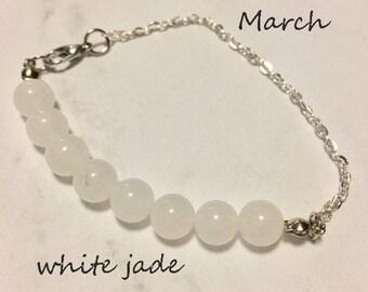 crystal healing White Jade bracelet/anklet/necklace, birthstone bracelet March, gemstone bar necklace