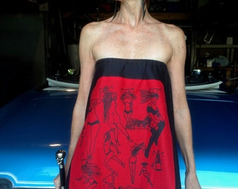 Pin Up Skirt-Fetish Pin Up Skirt-Fetish Pin Up Dress-Burlesque Dress-Club Wear-Stage Wear-Hand Drawn Original Screen Print