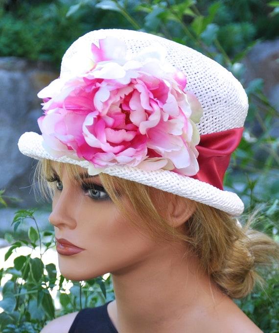 Tea Party Hat, Wedding Hat, Ladies Pink and White Hat, Derby Hat, Formal Hat