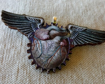 Anatomical Heart Pendant Necklace / Flying Heart Necklace / Anatomy Pendant / Love Pendant / Anatomical Heart Wing / Laser Cut Wood