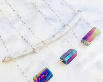 Rainbow Aura Quartz Necklace, Titanium Aura Quartz Necklace, Flame Aura Quartz Necklace, Aura Quartz Necklace, Aura Quartz Pendant Aqua Aura
