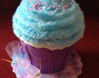 Faux/Fake cupcake box—purple and blue; memento box; birthday gift; party favor; fake food; tea party