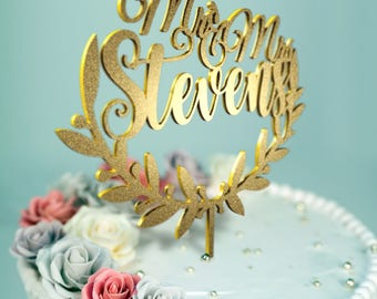 Mr and Mrs Stevens Olive Branch ~ Personalized Wedding Cake Topper ~ Wedding Cake Decor ~ Mr & Mrs ~ Designed and made in California D-24
