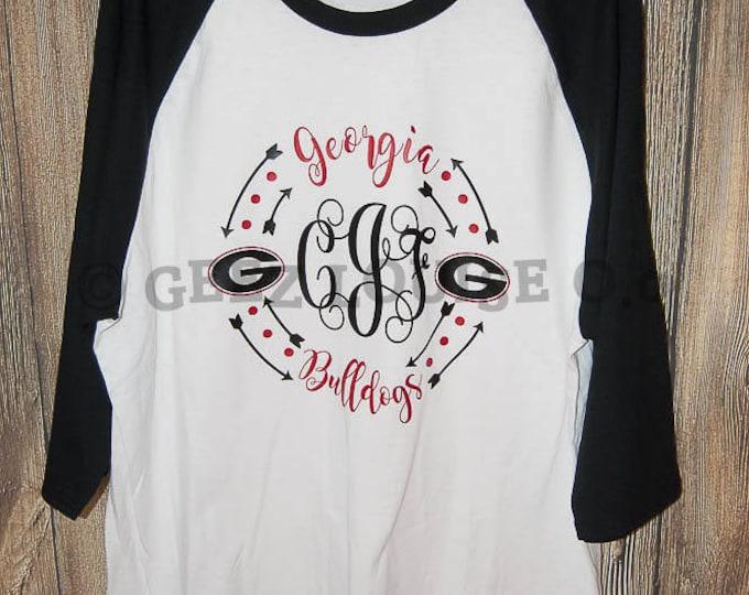 Georgia Bulldog Monogram T-shirt Adult Raglan Baseball Tee  Vinyl Unisex Cotton Football Sport SEC Dawgs Red Black