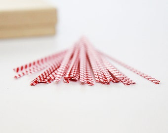 RED and WHITE Twist Ties 4 inch  Set of 50