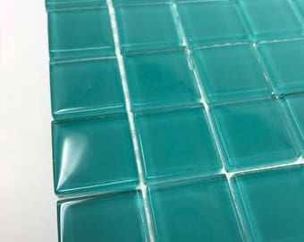 "Crystal glass 1"" Spring blue-green tiles"