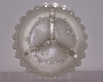 SALE!  3 Section Textured Glass Dish with Bubbles