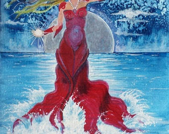 Astrological portrait,Cancer,Zodiac,ocean scene,lady in red,pearls,full moon,night sea,fantasy landscape,blue and red,somber