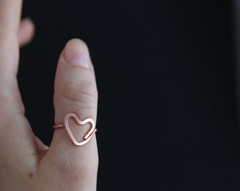 Love Minimalistic Copper Heart Ring  Skinny Ring Light
