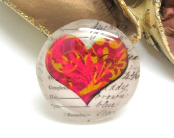 2 cabochons 20 mm glass Vintage Fuschia and gold - 20 mm heart