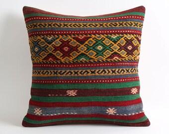 boho chic, 20x20 kilim cushion cover, bohemian pillow, boho decor