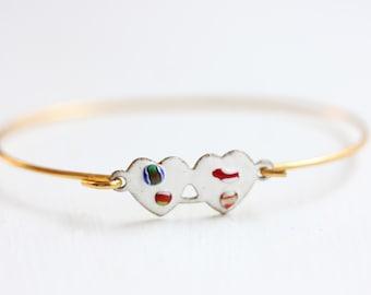 Heart Bracelet, Double Heart Bracelet, White Heart Bracelet, Hook Bracelet