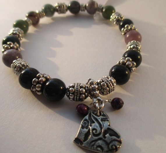 Black Onyx, Fancy Jasper and Embossed Heart Charm Stretch Bracelet B1028171
