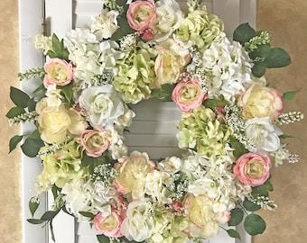 Wreaths for Front Door Spring Wreath Pink Wreaths Floral Door Wreaths Spring Flower Wreath Spring Decor Wreath