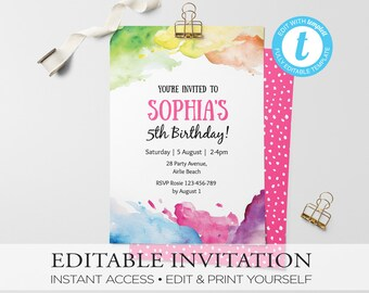 Art Party Birthday Invitation, Art invitation, kids invitation, birthday invitation, Custom invitation, party invitation, rainbow invitation