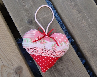 heart hanging fabric liberty and Red polka dots, pearls and ribbons