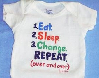 Eat Sleep Change Baby Bodysuit, Novelty Baby One Piece, Funny Baby Outfit, How To Baby Clothes for New Parents Shower Gift