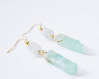 Chrysoprase Earrings, Gemstone Earrings, Chrysoprase Jewelry, Crystal Dangle Earrings, Mint Green Stone Earrings, Moonstone Earrings