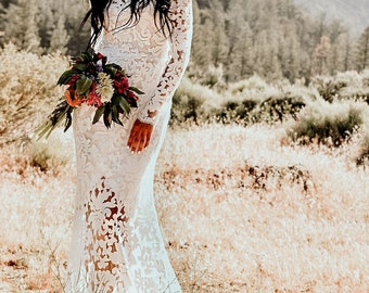 Long Sleeve Back Cut-out Sheer Floral Embroidery Lace Sequins  Mermaid Hourglass WEDDING Maxi Dress Gown  W/ Train Saldana Vintage