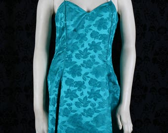 vintage 80s prom / party dress - teal brocade mini swetheart gown