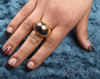 Woman Ring, Texture Ring, Plating 18k Yellow Gold Ring, Unique Jewelry, Size 8