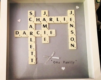 Our Family Scrabble Art Frame perfect gift fot new baby, wedding, new home, christmas or birthday