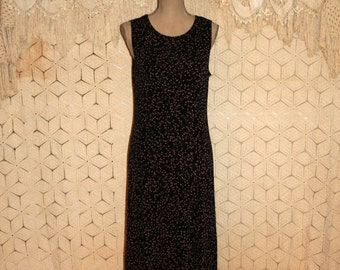 Sleeveless Shift Dress Women Medium Casual Knit Dress Summer Dress Black Print Dresses for Women Vintage Clothing Womens Clothing