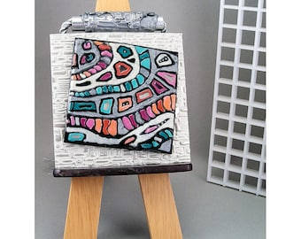 Miniature Wall Hanging - Pearl White Silver Mosaic Jewel Tones Peach Green Purple Abstract Home Decor No. 113