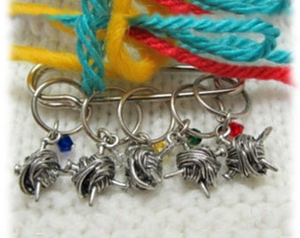 Snag-Free Ball of Yarn Stitch Markers Sterling Silver Rings - Set of 5