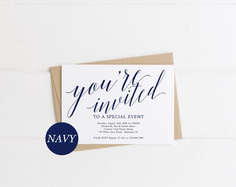 Navy You're Invited Invitation Template Navy You Are Invited invitation Template Special Event Invitation Template Neutral Invitation